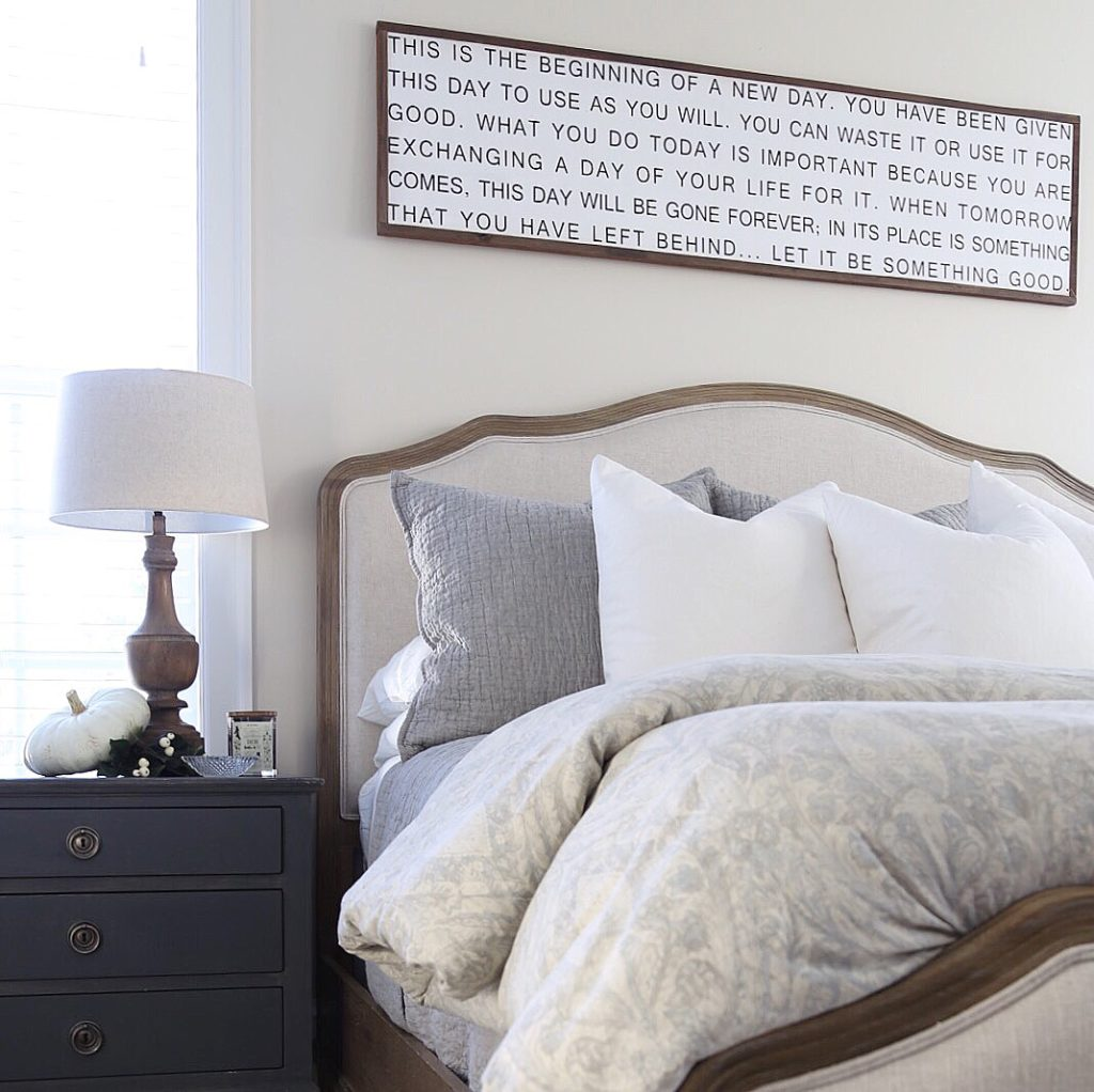 Fall master bedroom tour cape cod farmhouse cambridge home company Master bedroom art above bed