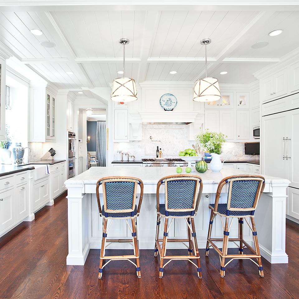 bright white kitchen cabinet wood trim detail
