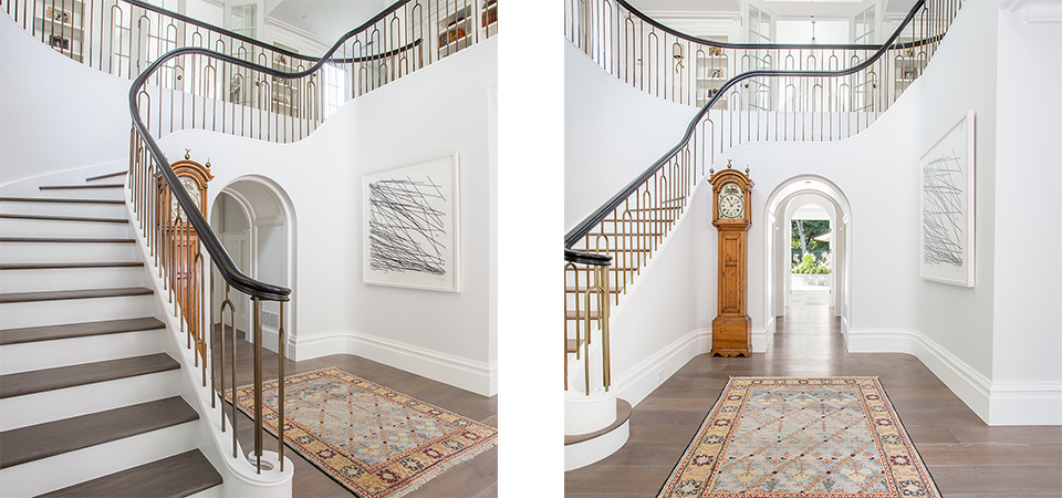 wood stairs metal handrail