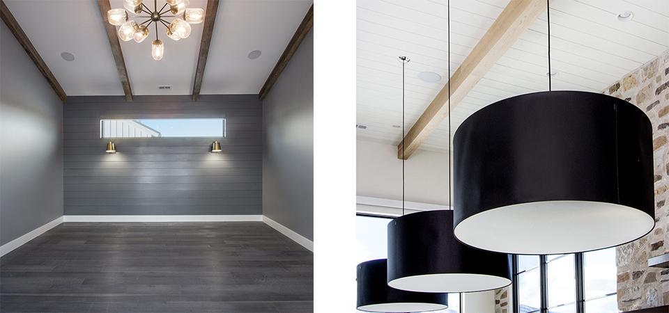 Nordic Modern wood beams white ceiling