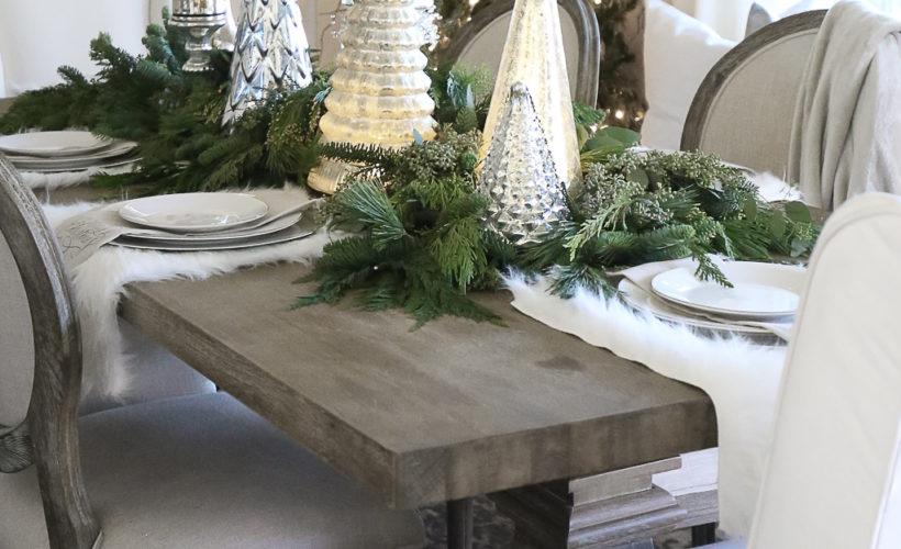 Dinning table set for Christmas dinner